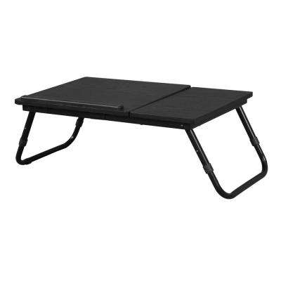 Home Source Berkley Black Top and Frame Foldable Laptop Stand with Adjusttable Table Top