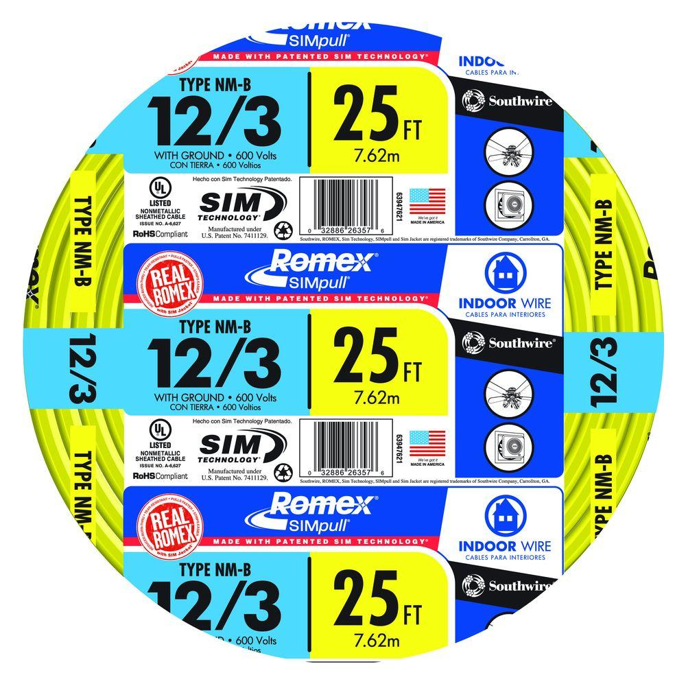 Southwire 25 ft. 12/3 Solid Romex SIMpull CU NM-B W/G Wire