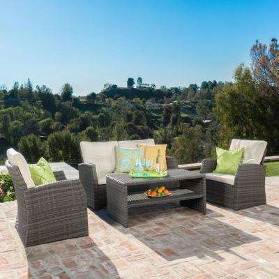 Sanger Grey 4-Piece Wicker Patio Conversation Set with Beige Cushions