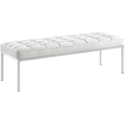 White Leather Bedroom Benches Bedroom Furniture The Home Depot