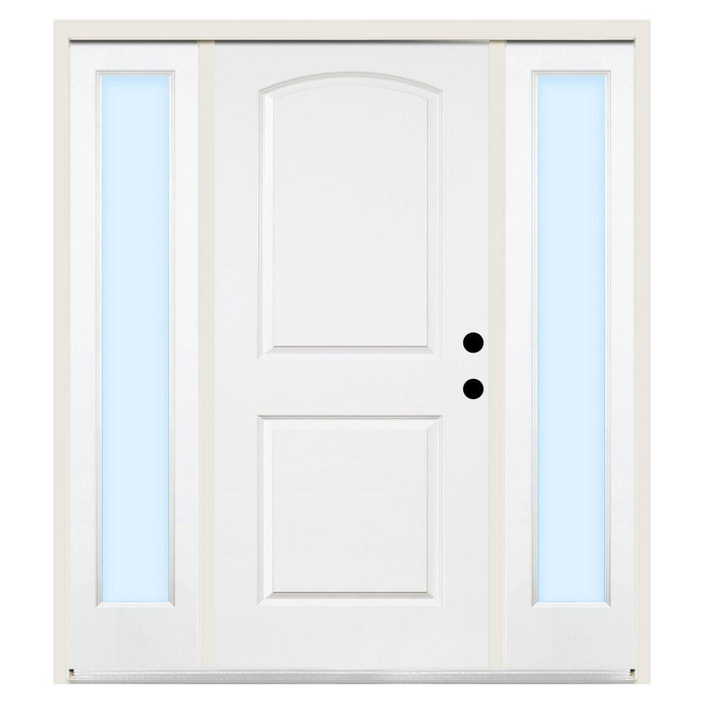 Steves & Sons 68 in. x 80 in. 2-Panel Arch Primed Steel Left-Hand Prehung Front Door w/ 14 in. Clear Glass Sidelite & 4 in. Wall