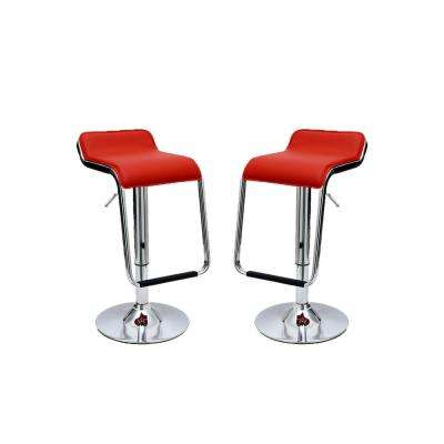 Sophisticated Horatio Red Barstool with a Hanging Footrest (Set of 2)
