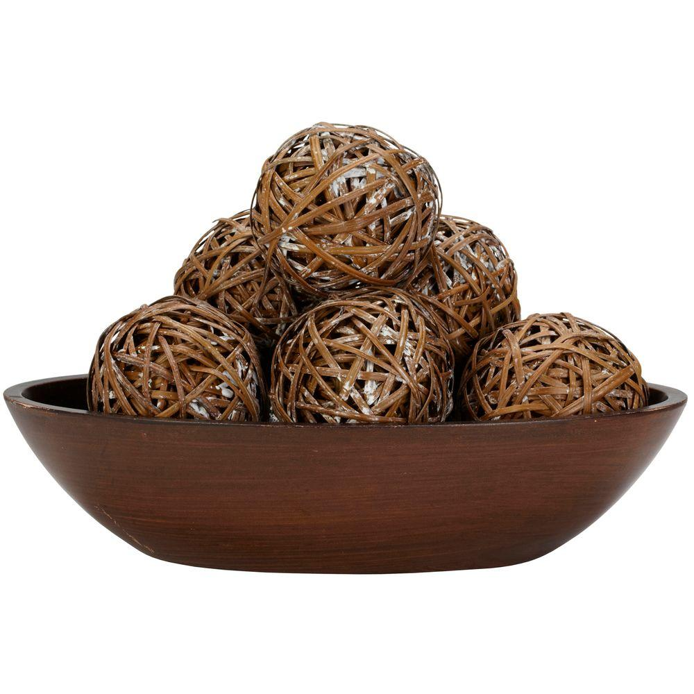 decorative balls for bowls Nearly Natural 3.75 in. H Brown Decorative Balls (Set of 6) 3023  decorative balls for bowls