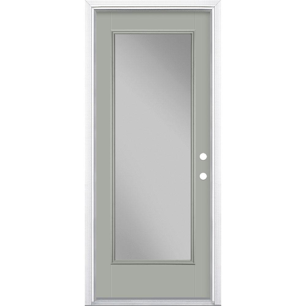 Masonite 32 in. x 80 in. Full Lite Left Hand Inswing Painted Smooth Fiberglass Prehung Front Exterior Door w/ Brickmold