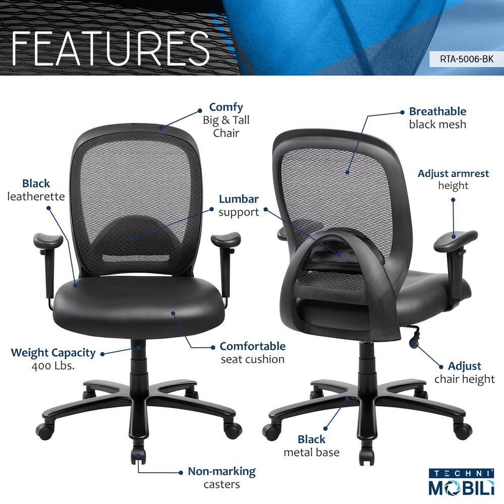 Cool Techni Mobili Black Comfortable Big And Tall Height Inzonedesignstudio Interior Chair Design Inzonedesignstudiocom
