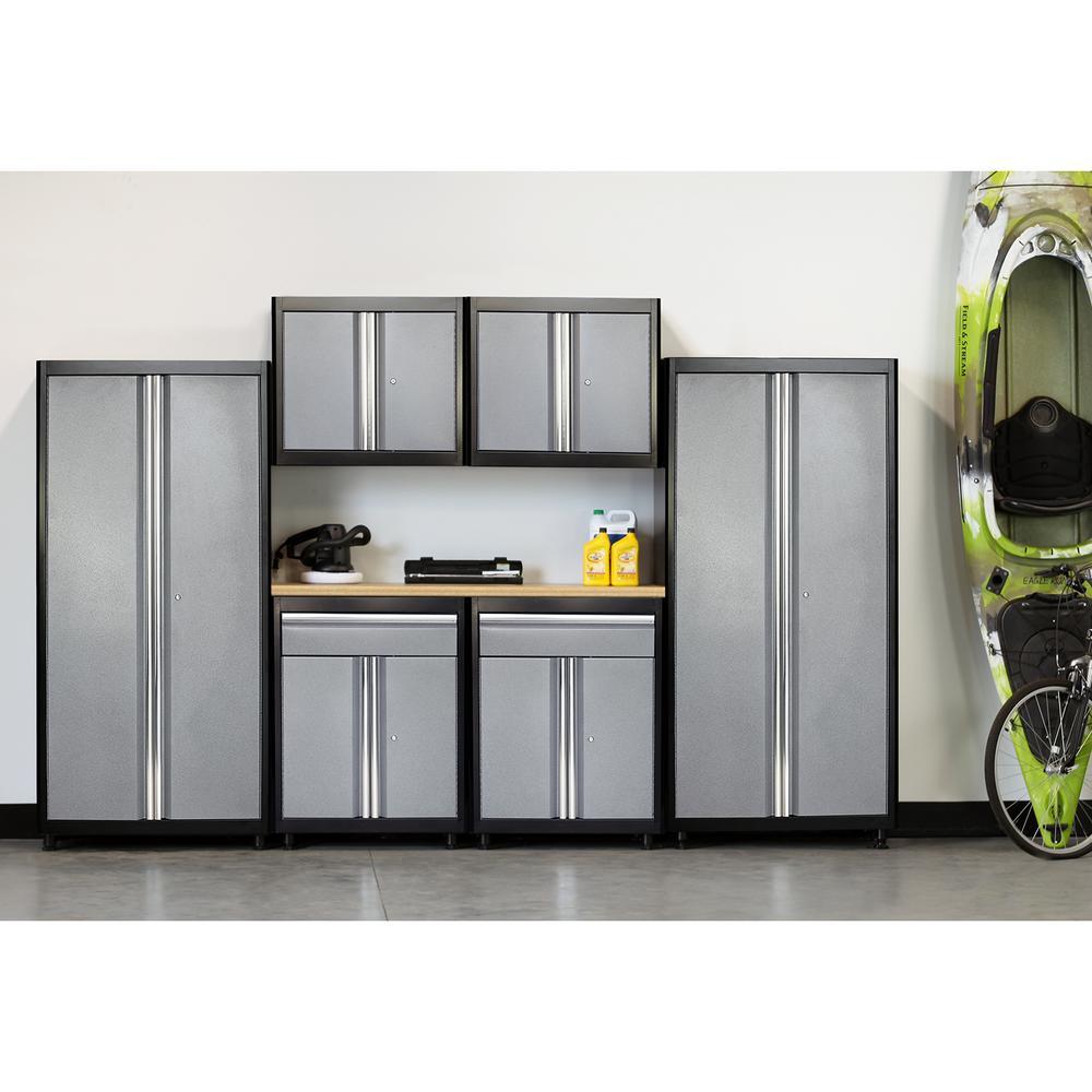 75 in. H x 132 in. W x 18 in. D Welded Steel Garage Cabinet Set in Black/Multi-Granite (7-Piece)