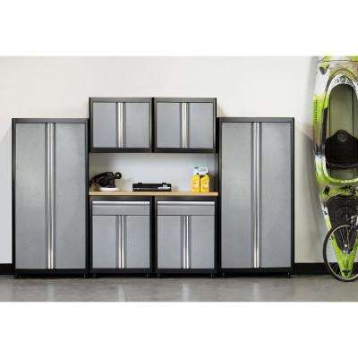 75 in. H x 132 in. W x 18 in. D Welded Steel Garage Cabinet Set in Black/Multi-Granite (7-Piece)