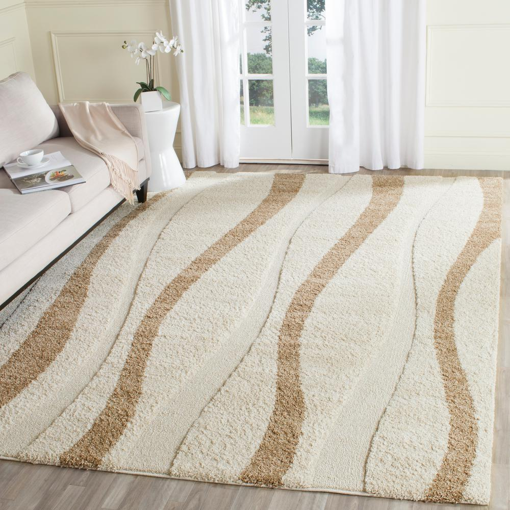 safavieh florida shag cream/dark brown 8 ft. x 10 ft. area rug