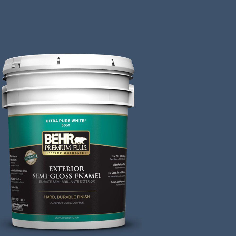 BEHR Premium Plus 5-gal. #HDC-SM14-7 Midnight Mosaic Semi-Gloss Enamel Exterior Paint