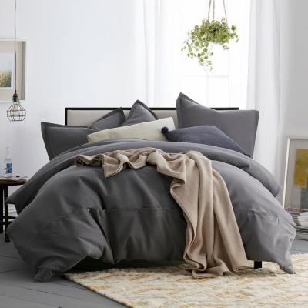Asher 3-Piece Graphite Solid Cotton Queen Duvet Cover Set