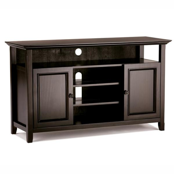 Amherst 54 in. Hickory Brown Wood TV Stand Fits TVs Up to 60 in. with Storage Doors