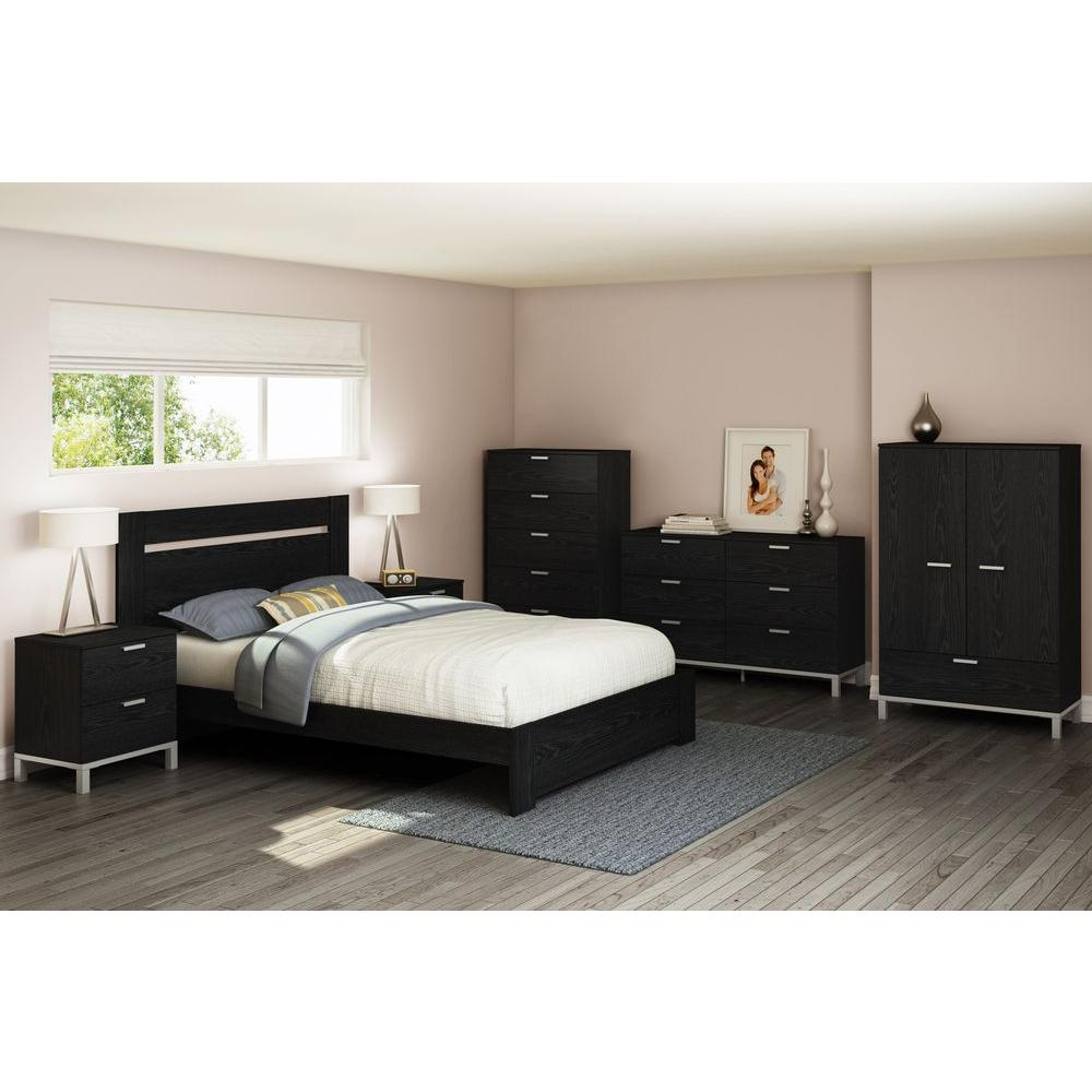 South Shore Flexible Black Oak Full/Queen Headboard