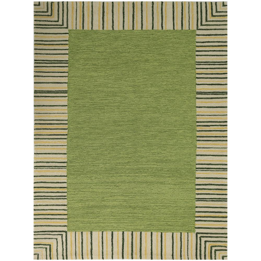 Pizazz Olive Green Striped Border 8 Ft. X 11 Ft. Indoor