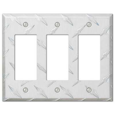 Garage Diamond Cut 3 Decora Wall Plate - Chrome