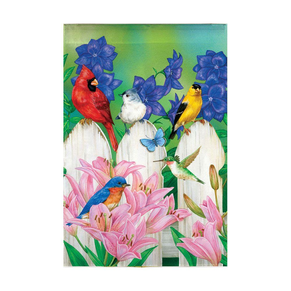 Evergreen Enterprises 18 in. x 12-1/2 in. Birds Fence Garden Flag