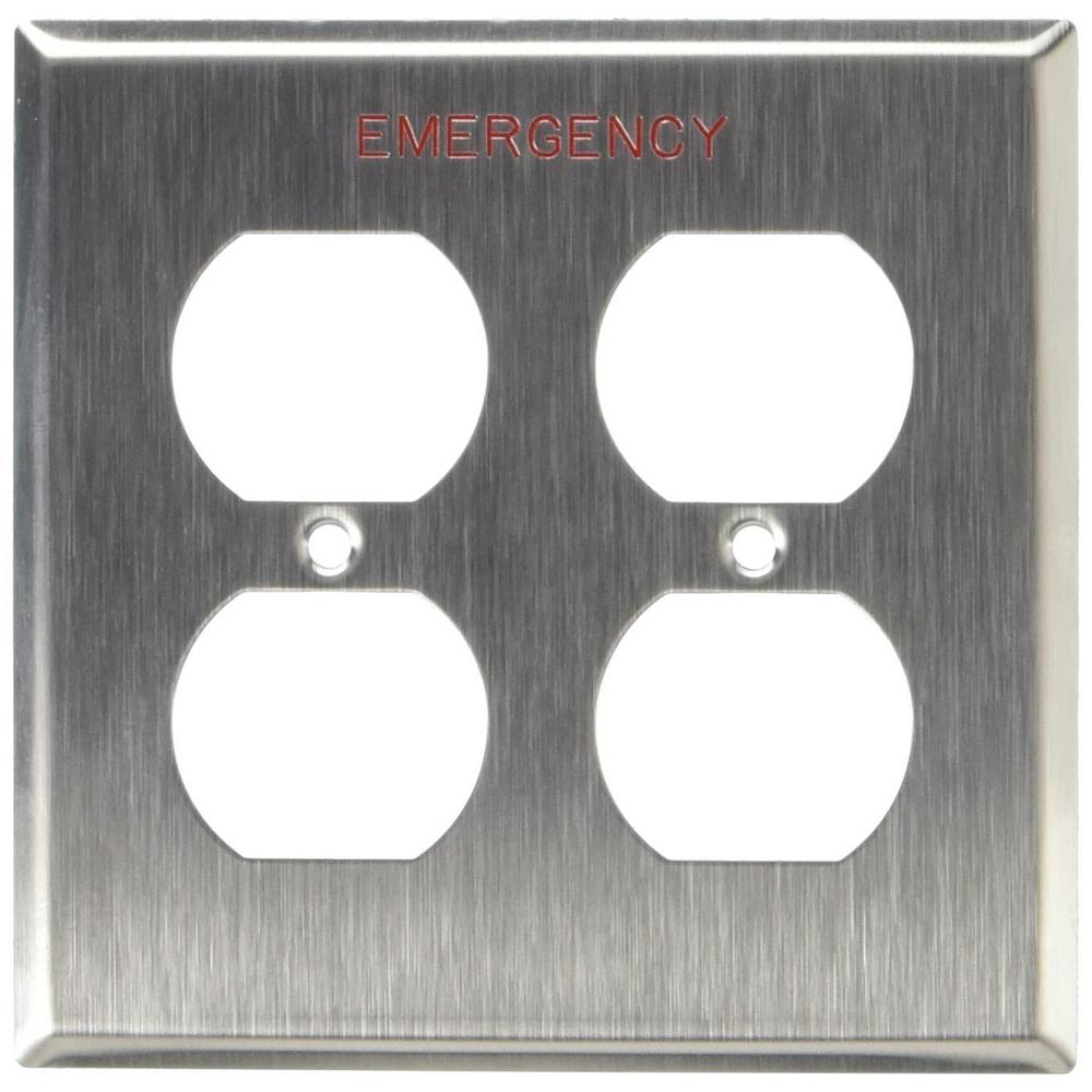 2-Gang Duplex Device Receptacle Wall Plate, Device Mount, Engraved Emergency,