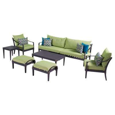 Astoria 8-Piece Patio Sofa and Club Chair Deep Seating Group with Ginkgo Green Cushions