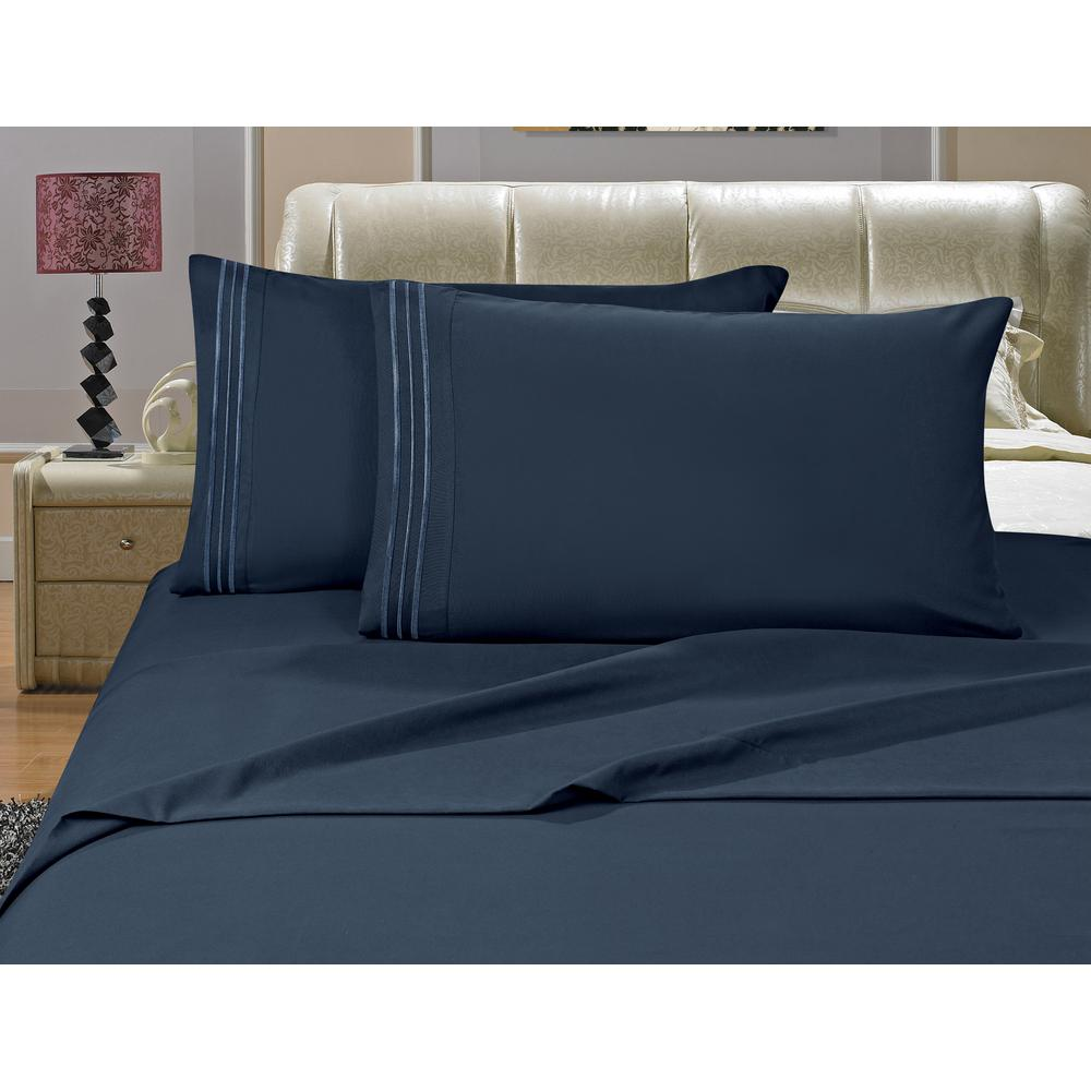 Beautiful Elegant Comfort 1500 Series 4 Piece Navy Blue Triple Marrow Embroidered  Pillowcases Microfiber Queen Size