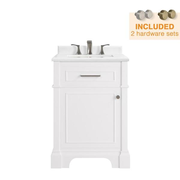 Melpark 24 in. W x 20 in. D Bath Vanity in White with Cultured Marble Vanity Top in White with White Sink