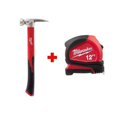 19 oz. Smooth Face Poly/Fiberglass Handle Hammer with Free 12 ft. Compact Tape Measure