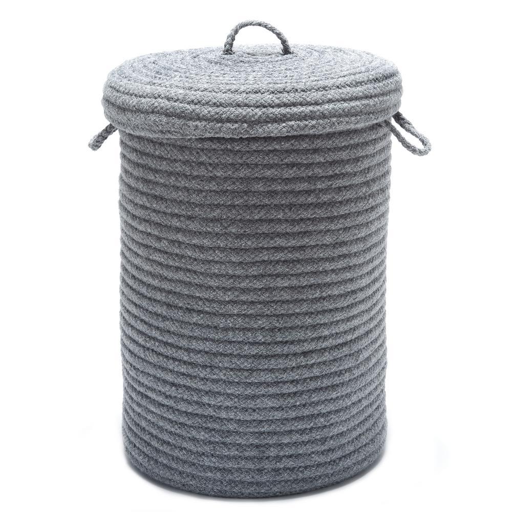 16 in. x 16 in. x 24 in. Light Gray Blended Wool Hamper