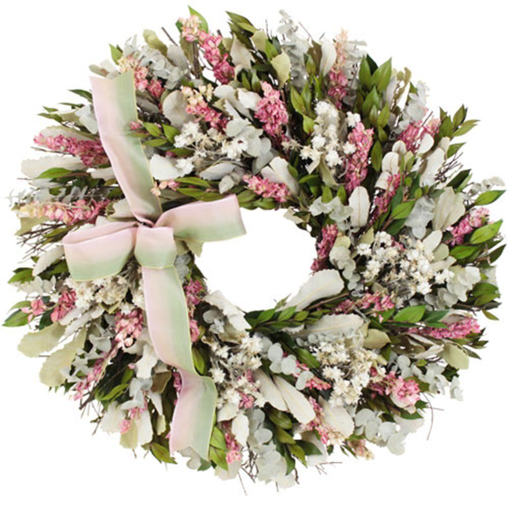 The Christmas Tree Company Blush and Blossoms 18 in. Dried Floral Wreath
