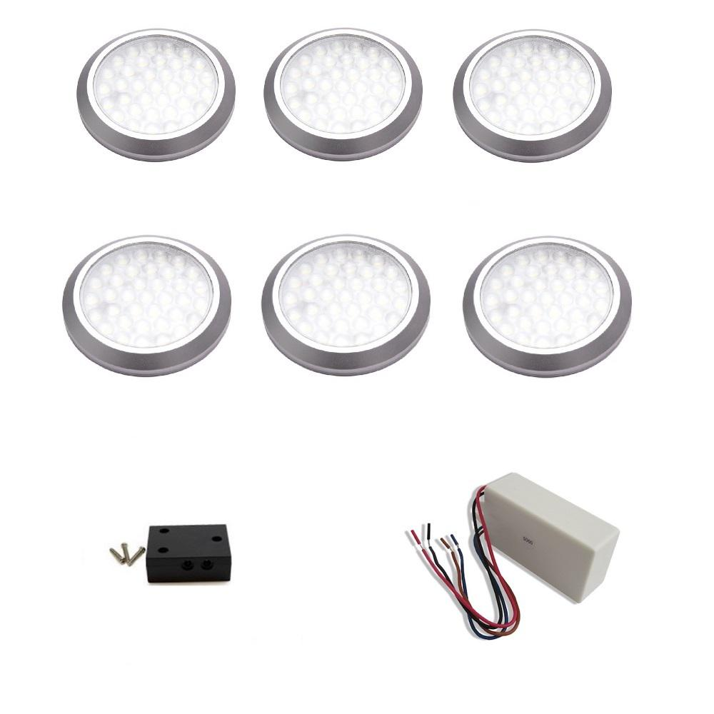 MacLEDS LED Under Cabinet HardWired Low Profile Puck Light Kit (6 Pack)