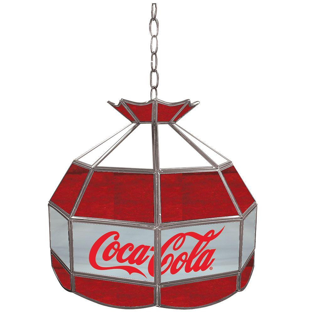 Trademark Coca Cola 16 in. Stained Glass Billiard Hanging Tiffany Light