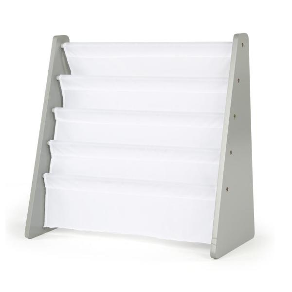 Tot Tutors Inspire Collection Grey and White 4-Pocket Storage Book Rack