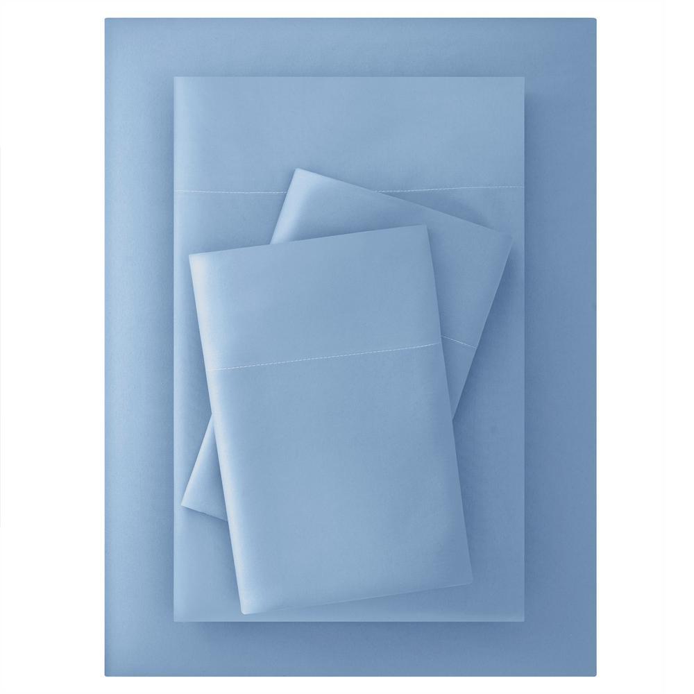 Brushed Soft Microfiber 4-Piece King Sheet Set in Washed Denim