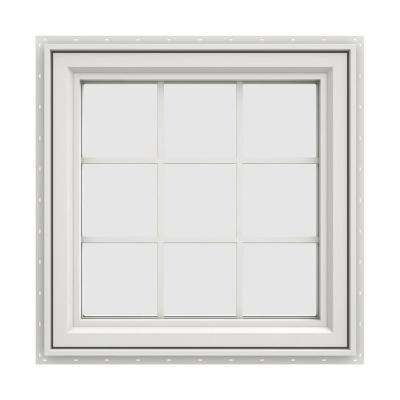 35.5 in. x 35.5 in. V-4500 Series White Vinyl Left-Handed Casement Window with Colonial Grids/Grilles