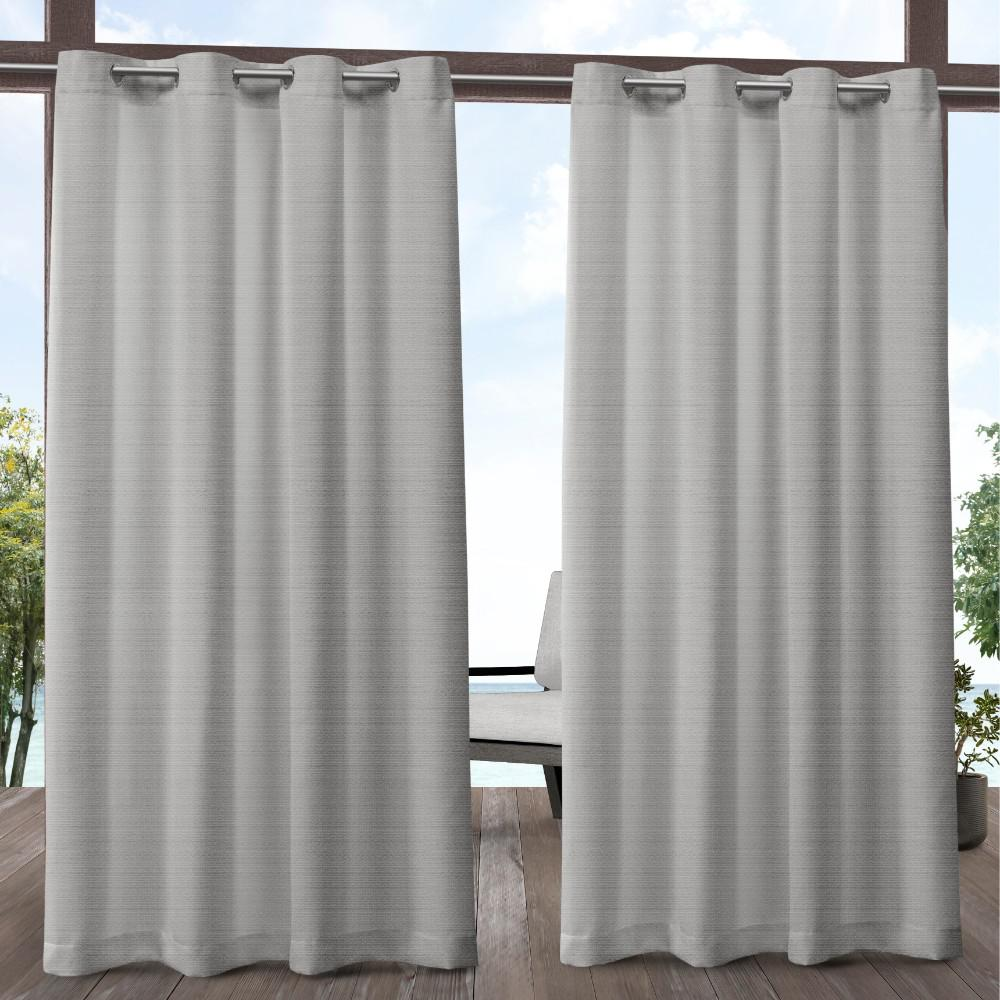 Exclusive Home Curtains Aztec 54 In W X 96 L Indoor Outdoor Grommet Top Curtain Panel Silver 2 Panels Eh8364 04 96g The Depot