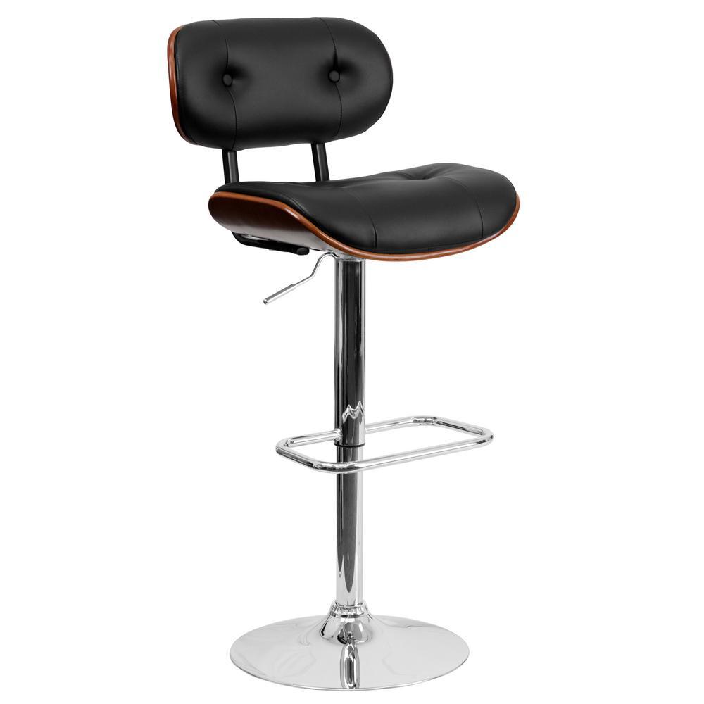 Flash Furniture Adjustable Height Black And Walnut