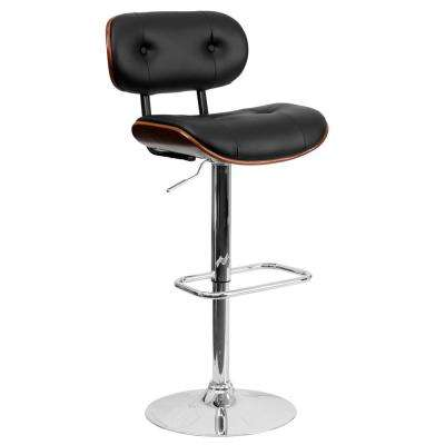 Adjustable Height Black and Walnut Cushioned Bar Stool