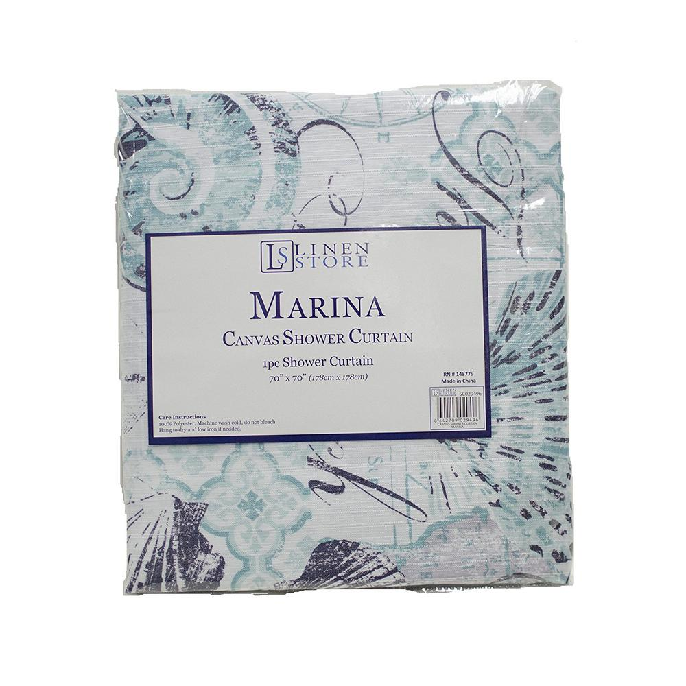 Marina 70 in. Beach and Seashells Design Shower Curtain, ...