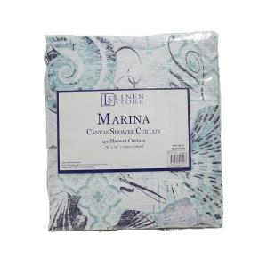 Linen Store Marina 70 inch Beach and Seashells Design Shower Curtain by Linen Store