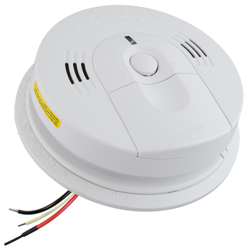 Kidde Hardwire Smoke and Carbon Monoxide Combination Detector with AA  Battery Backup, Voice Alarm,