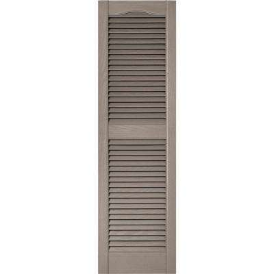 15 in. x 52 in. Louvered Vinyl Exterior Shutters Pair in #008 Clay