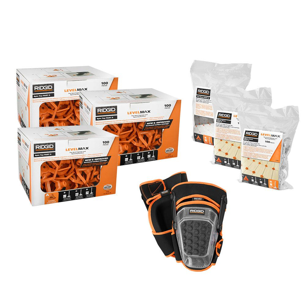 RIDGID LevelMax Anti-Lippage and Spacing System Top + Flat Stem + Brick  Stem with Pro Hinge Stabilizing Knee Pad