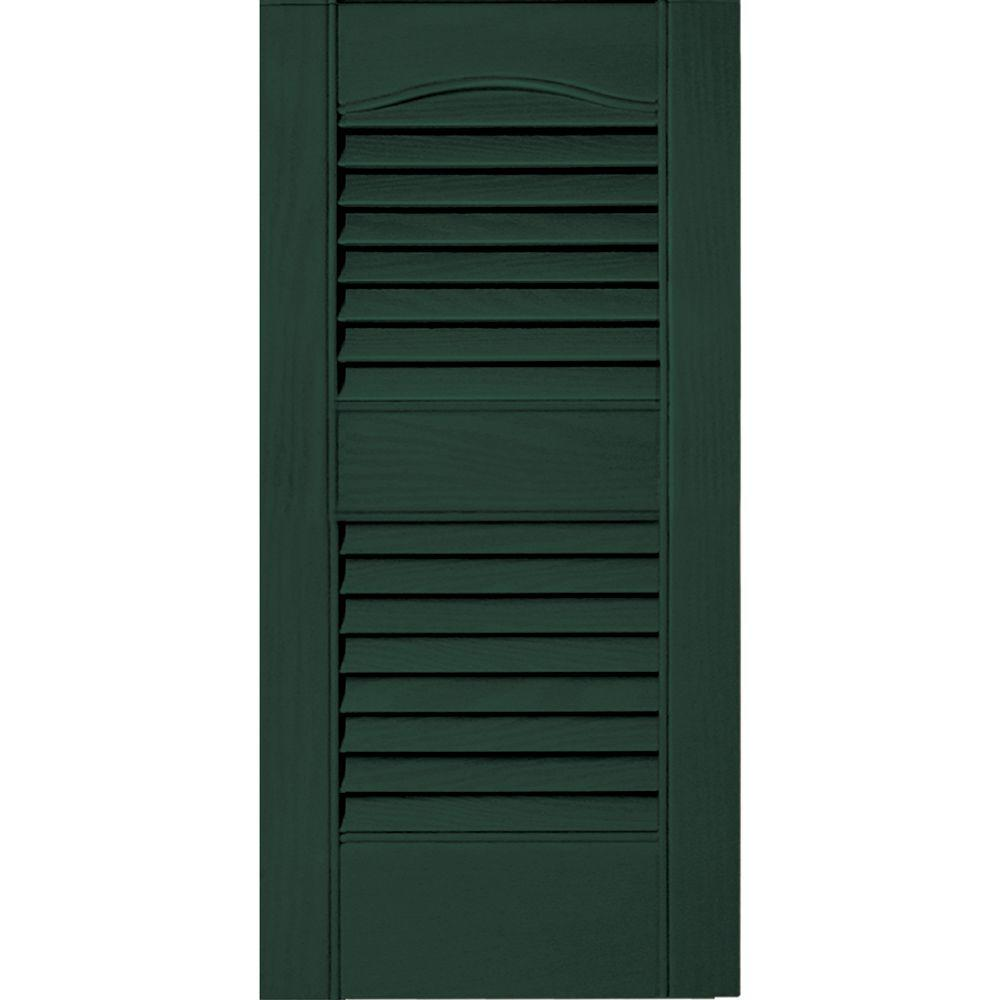 12 in. x 25 in. Louvered Vinyl Exterior Shutters Pair #122