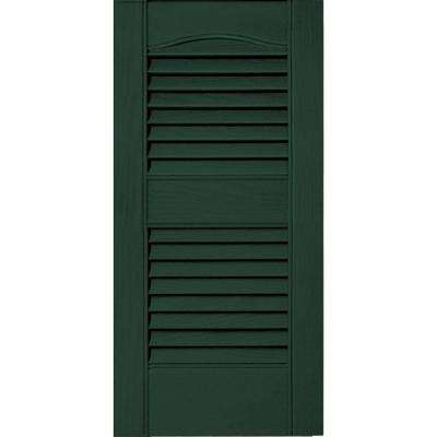 12 in. x 25 in. Louvered Vinyl Exterior Shutters Pair #122 Midnight Green