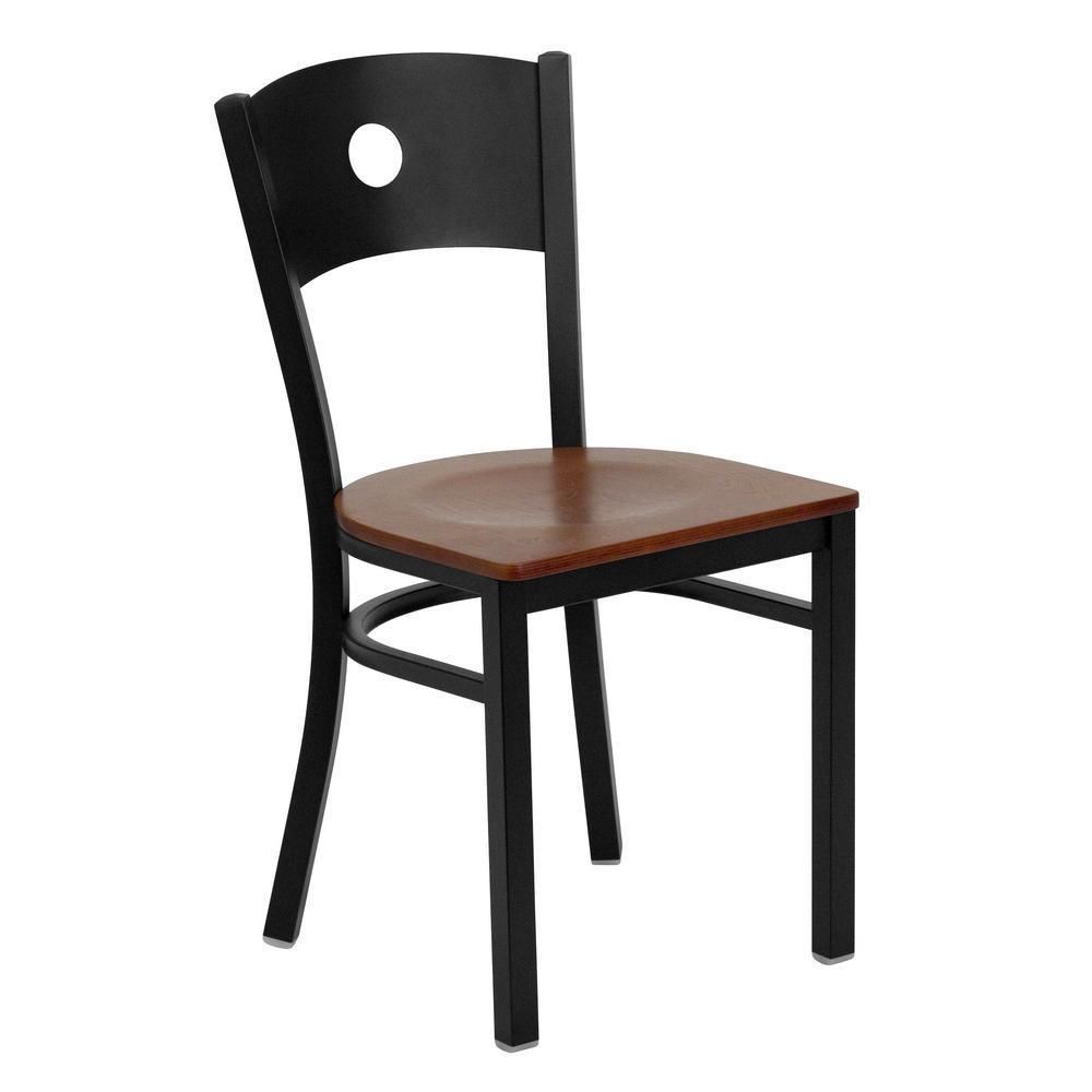 Flash Furniture Hercules Series Black Circle Back Metal Restaurant Chair   Cherry  Wood Seat