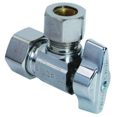 1/2 in. Nominal Compression Inlet x 1/2 in. O.D. Compression Outlet Brass 1/4-Turn Angle Ball Valve (5-Pack)