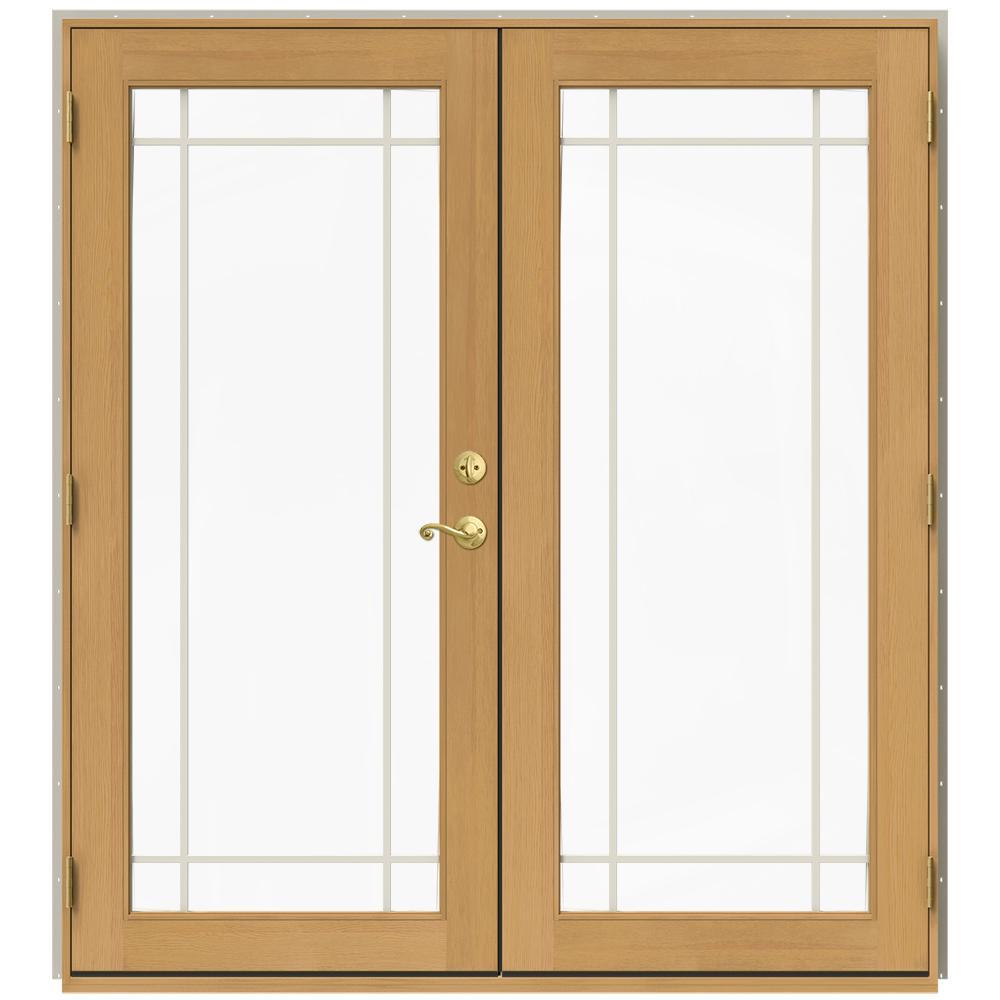 Jeld Wen 71 5 In X 79 5 In W 2500 Desert Sand Right Hand Inswing French Wood Patio Door