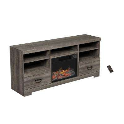 65 in. Freestanding Electric Fireplace TV Stand Console in Woodgrain Black-Brown