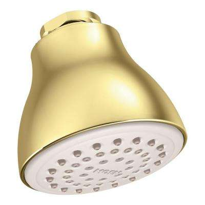 Easy Clean XL 1-Spray 2.5 in. Single Wall Mount Fixed Shower Head in Polished Brass