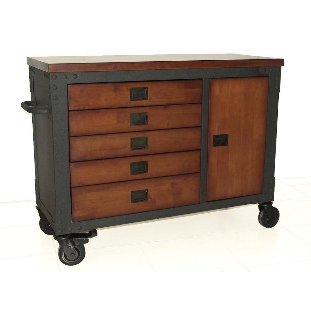 48 in. 5-Drawers Rolling Tool Chest with Wood Top