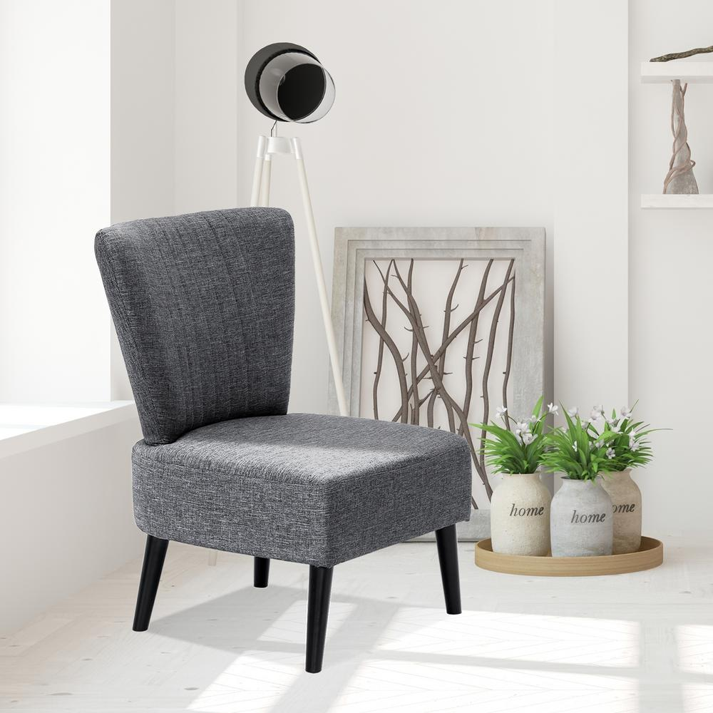 Furinno Euro Modern Dark Grey Fabric Armless Accent Chair ...