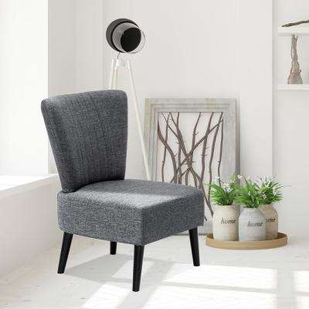 Euro Modern Dark Grey Fabric Armless Accent Chair