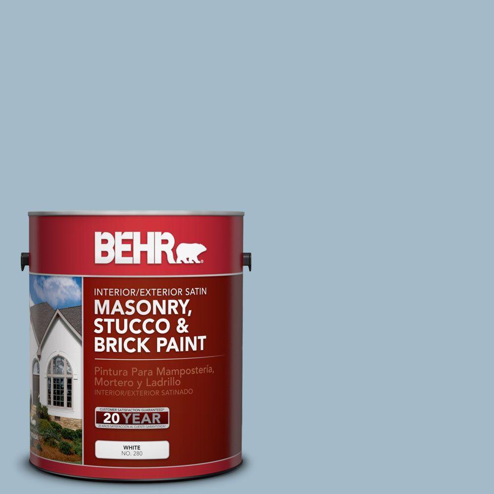 BEHR Premium 1-gal. #MS-73 Aegean Sky Satin Interior/Exterior Masonry, Stucco and Brick Paint